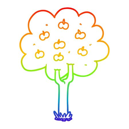 rainbow gradient line drawing of a cartoon apple tree Illustration