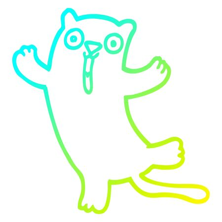 cold gradient line drawing of a cartoon happy cat
