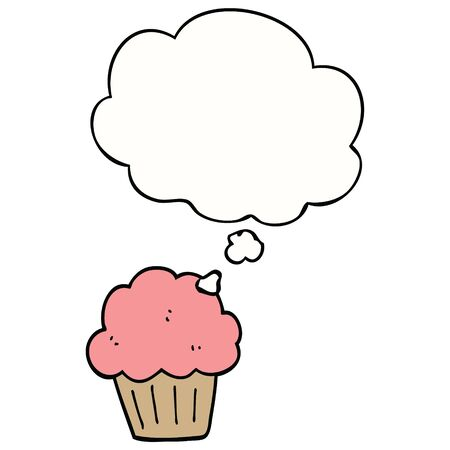 cartoon  muffin with thought bubble