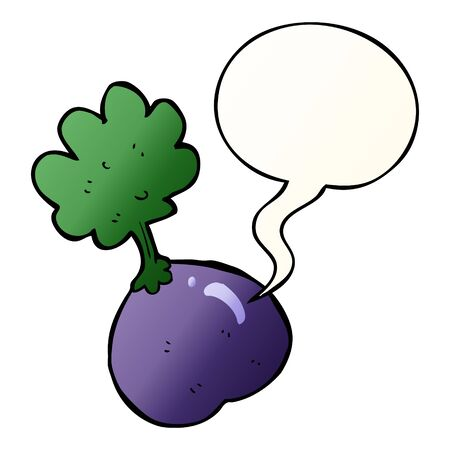cartoon vegetable with speech bubble in smooth gradient style