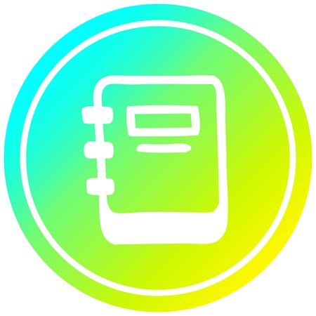 note book circular icon with cool gradient finish