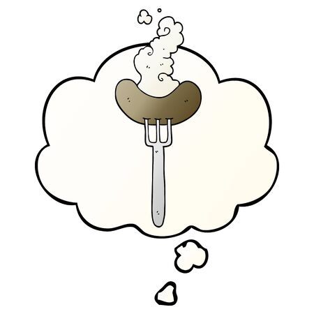 cartoon sausage on fork with thought bubble in smooth gradient style
