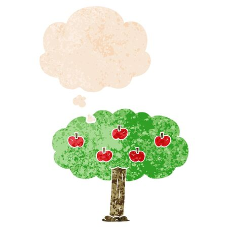 cartoon apple tree with thought bubble in grunge distressed retro textured style