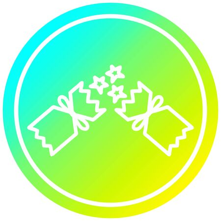 exploding christmas cracker circular icon with cool gradient finish