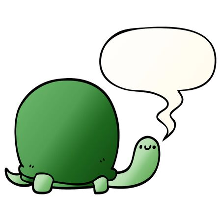 cute cartoon tortoise with speech bubble in smooth gradient style Banco de Imagens - 128596855