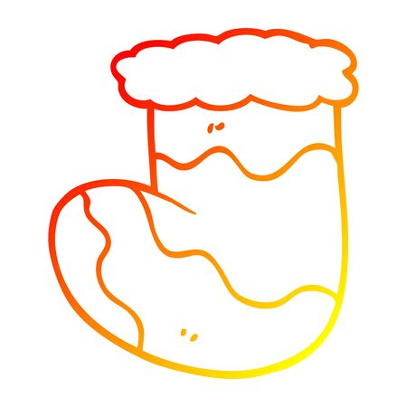 warm gradient line drawing of a cartoon christmas stocking Illustration