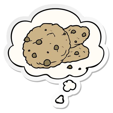 cartoon cookies with thought bubble as a printed sticker