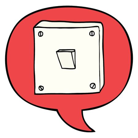 cartoon light switch with speech bubble