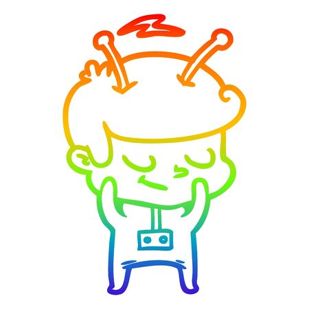 rainbow gradient line drawing of a shy cartoon spaceman
