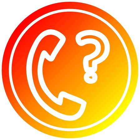telephone handset with question mark circular icon with warm gradient finish Stock fotó - 128596864
