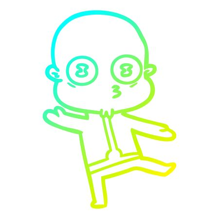 cold gradient line drawing of a cartoon weird bald spaceman dancing