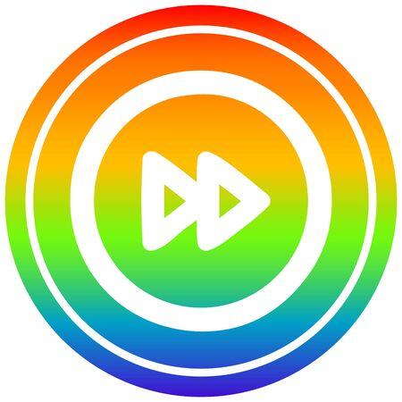 fast forward circular icon with rainbow gradient finish Illustration