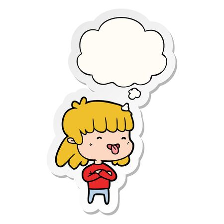 cartoon girl sticking out tongue with thought bubble as a printed sticker