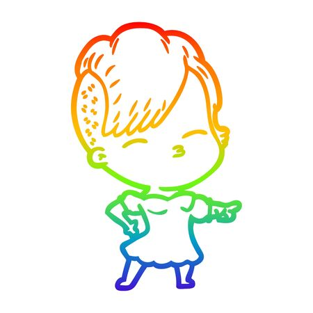 rainbow gradient line drawing of a cartoon squinting girl pointing Stock Illustratie
