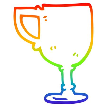 rainbow gradient line drawing of a cartoon gold cup Banque d'images - 128581511