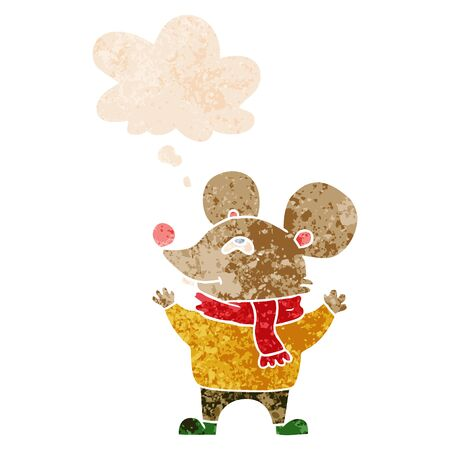 cartoon mouse wearing scarf with thought bubble in grunge distressed retro textured style