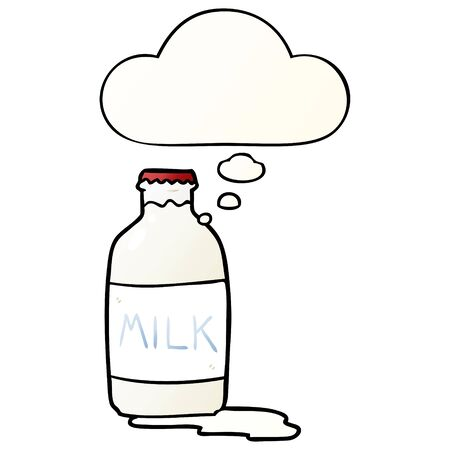 cartoon milk bottle with thought bubble in smooth gradient style Ilustração