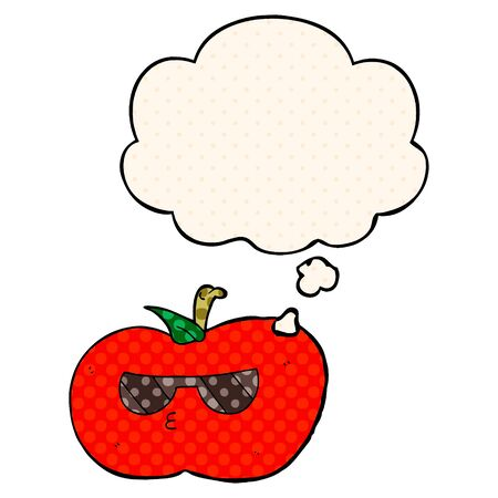 cartoon cool apple with thought bubble in comic book style