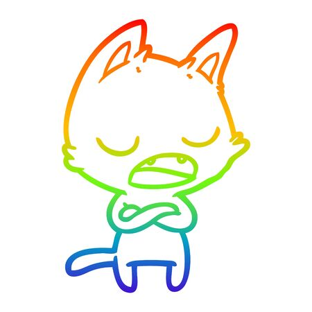 rainbow gradient line drawing of a talking cat with crossed arms