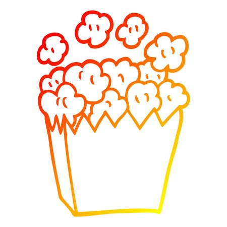 warm gradient line drawing of a cartoon cinema popcorn