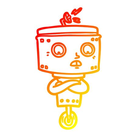 warm gradient line drawing of a cartoon robot with crossed arms
