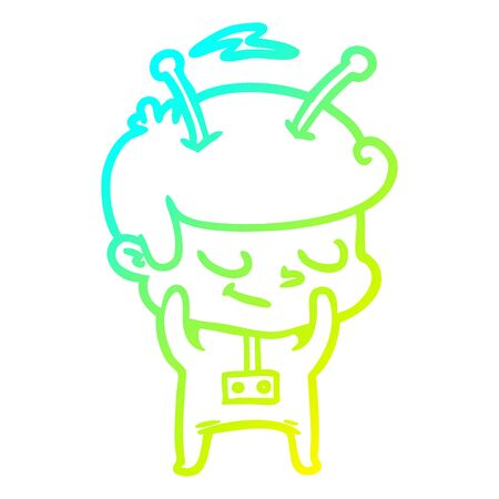 cold gradient line drawing of a shy cartoon spaceman Illustration