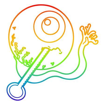 rainbow gradient line drawing of a cartoon ill eyeball