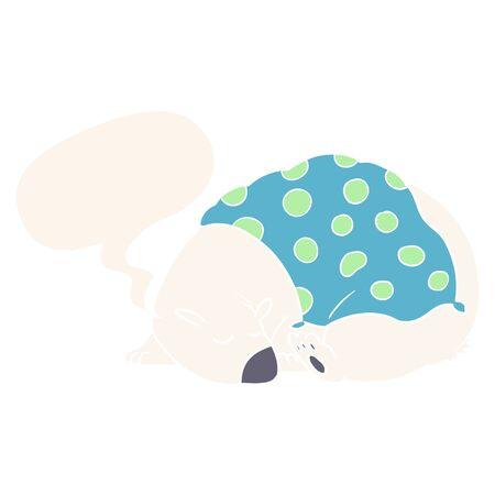 cartoon polar bear sleeping with speech bubble in retro style