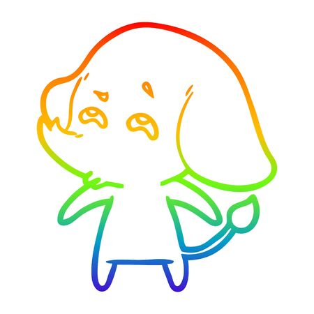 rainbow gradient line drawing of a cartoon elephant remembering