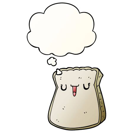 cartoon slice of bread with thought bubble in smooth gradient style Ilustração