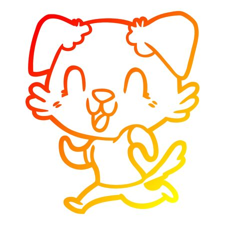 warm gradient line drawing of a laughing cartoon dog jogging  イラスト・ベクター素材