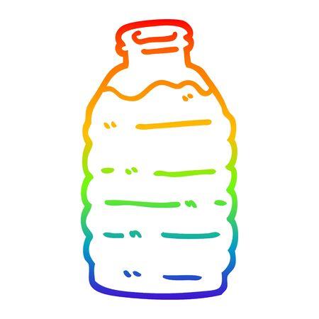 rainbow gradient line drawing of a cartoon water bottle