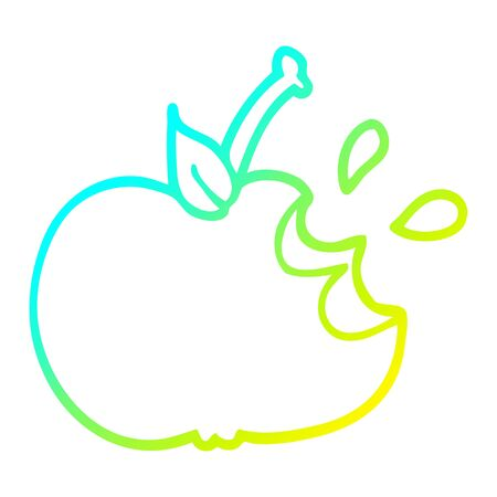 cold gradient line drawing of a cartoon juicy bitten apple