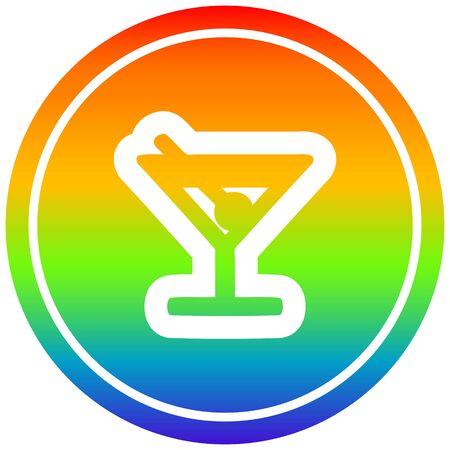 cocktail with olive circular icon with rainbow gradient finish Illusztráció