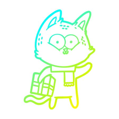 cold gradient line drawing of a cartoon cat holding christmas present