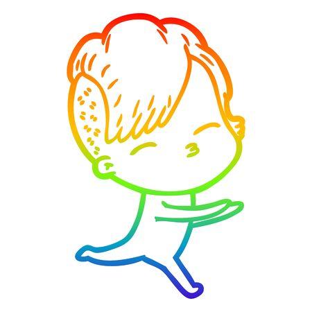 rainbow gradient line drawing of a cartoon girl in onesie