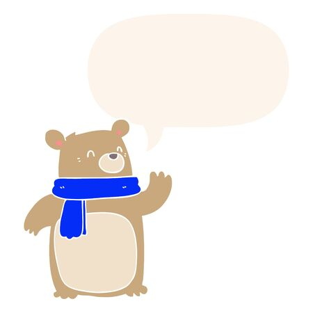 cartoon bear wearing scarf with speech bubble in retro style Stock Illustratie