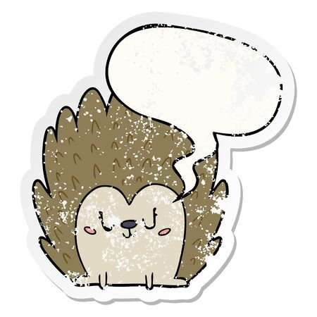 cute cartoon hedgehog with speech bubble distressed distressed old sticker
