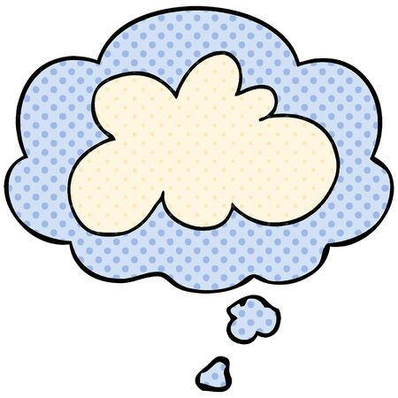 cartoon decorative cloud symbol with thought bubble in comic book style