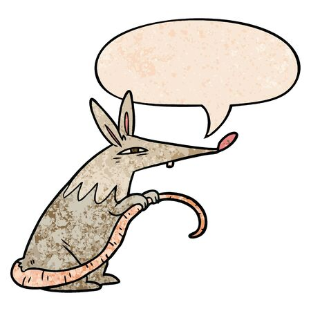 cartoon sneaky rat with speech bubble in retro texture style