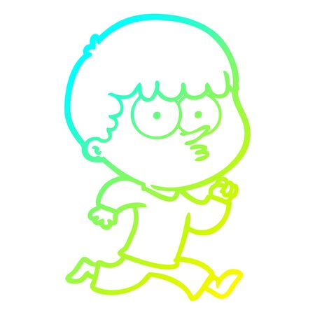 cold gradient line drawing of a cartoon curious boy running