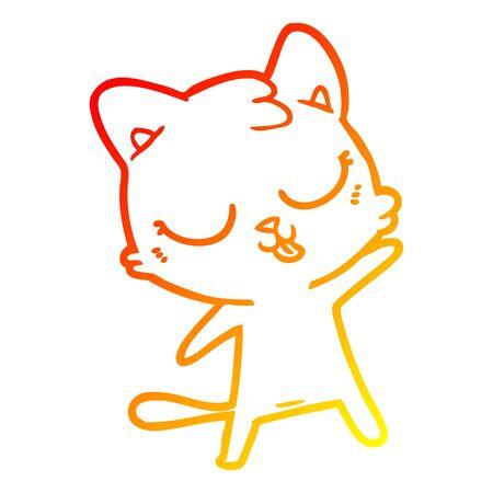 warm gradient line drawing of a cute cartoon cat Illustration