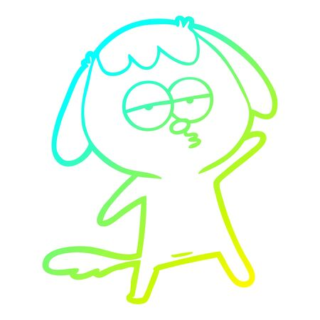 cold gradient line drawing of a cartoon bored dog 向量圖像