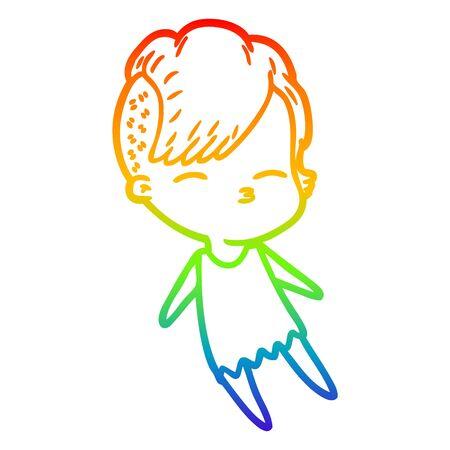 rainbow gradient line drawing of a cartoon squinting girl 일러스트