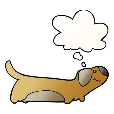 cartoon dog with thought bubble in smooth gradient style Ilustração