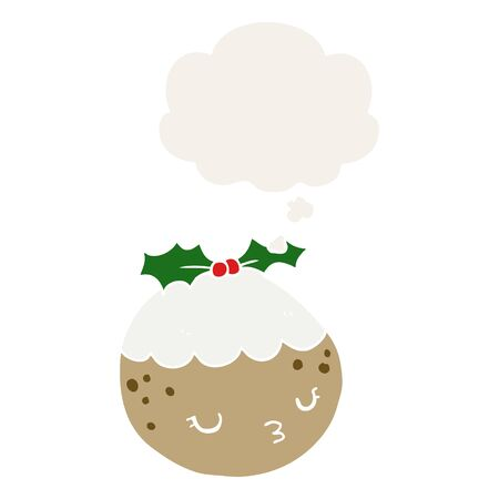 cute cartoon christmas pudding with thought bubble in retro style Иллюстрация