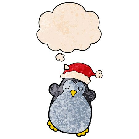 cute christmas penguin with thought bubble in grunge texture style