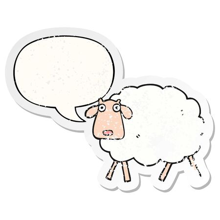 cartoon sheep with speech bubble distressed distressed old sticker Çizim