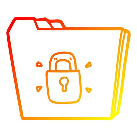 warm gradient line drawing of a cartoon locked files Illustration
