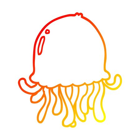 warm gradient line drawing of a cartoon jellyfish